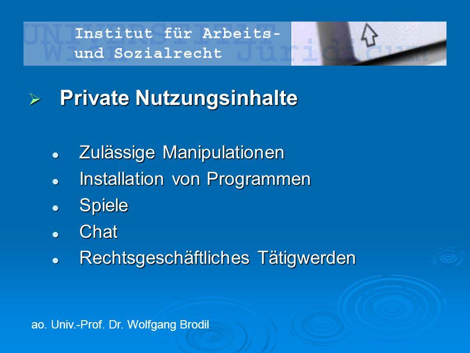  Private Nutzungsinhalte Zulässige Manipulationen Zulässige Manipulationen Installation von Programmen Installation von Programmen Spiele Spiele Chat