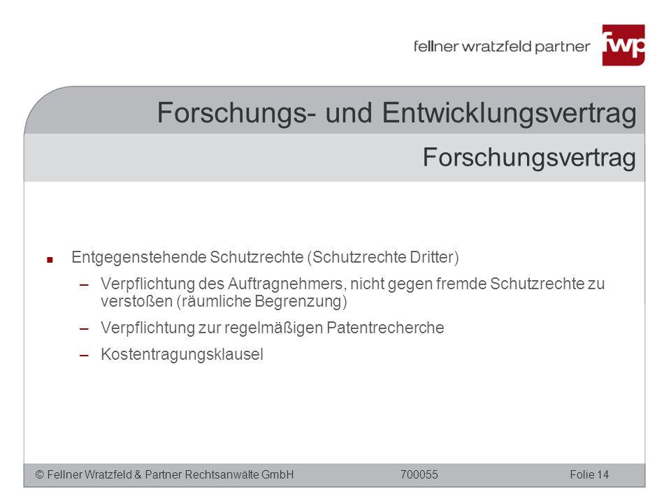 © Fellner Wratzfeld & Partner Rechtsanwälte GmbHFolie 14700055 Forschungs- und Entwicklungsvertrag ■ Entgegenstehende Schutzrechte (Schutzrechte Dritt