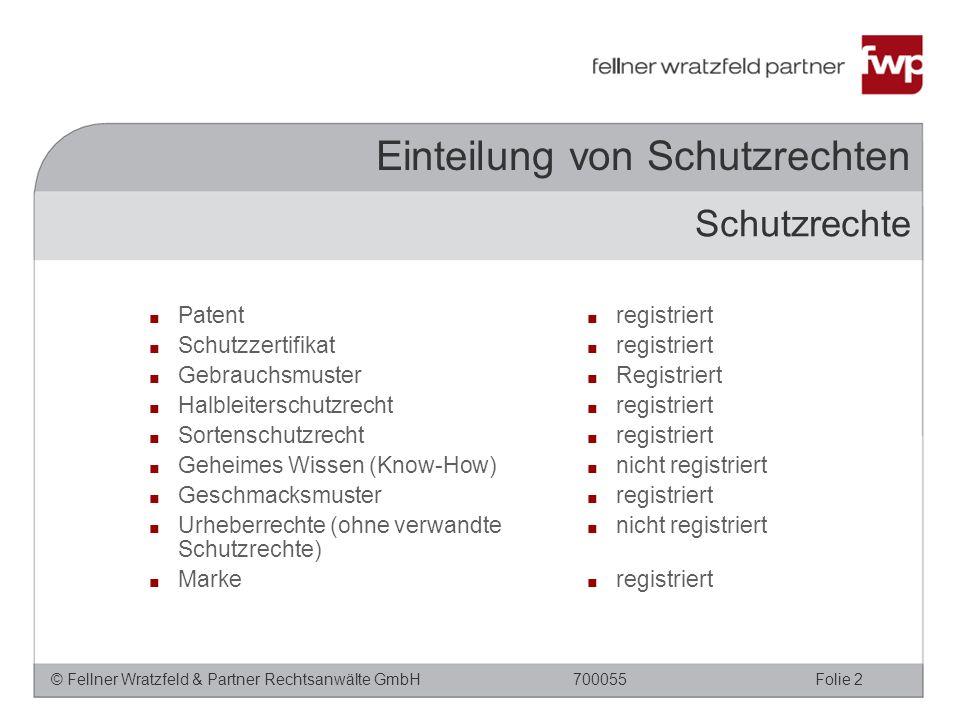 © Fellner Wratzfeld & Partner Rechtsanwälte GmbHFolie 2700055 Schutzrechte ■ registriert ■ Registriert ■ registriert ■ nicht registriert ■ registriert