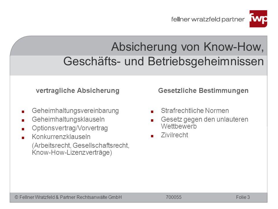 © Fellner Wratzfeld & Partner Rechtsanwälte GmbHFolie 3700055 Absicherung von Know-How, Geschäfts- und Betriebsgeheimnissen vertragliche Absicherung ■