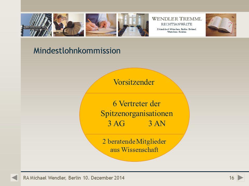Mindestlohnkommission RA Michael Wendler, Berlin 10.