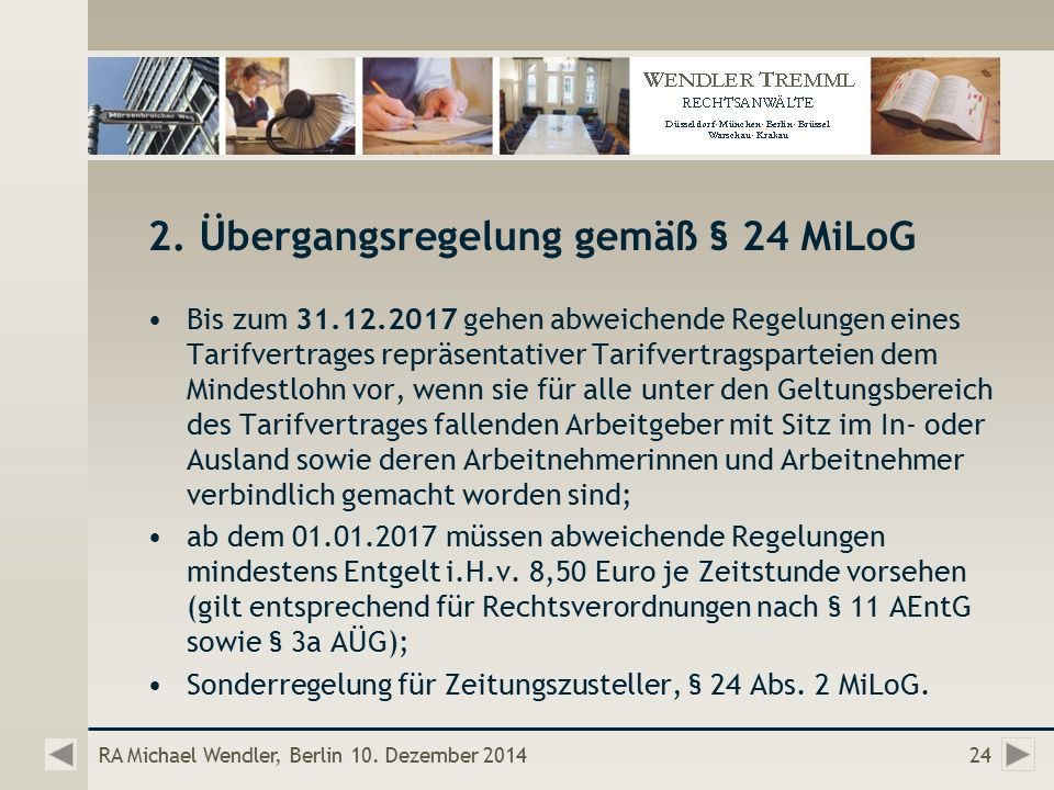 RA Michael Wendler, Berlin 10. Dezember 201424 2.