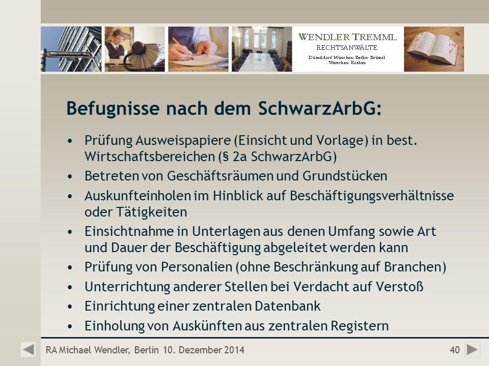 Befugnisse nach dem SchwarzArbG: Prüfung Ausweispapiere (Einsicht und Vorlage) in best.