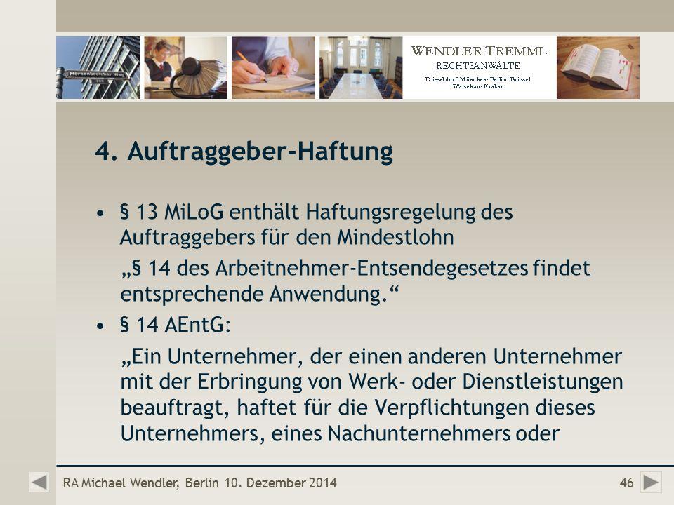 RA Michael Wendler, Berlin 10. Dezember 201446 4.