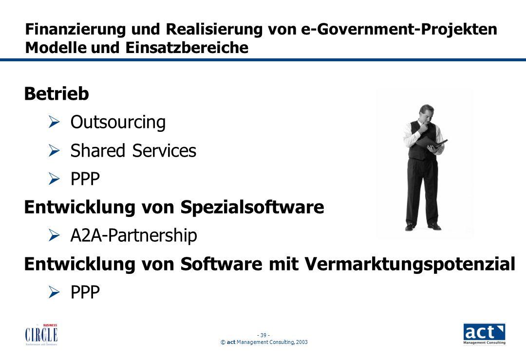 © act Management Consulting, 2003 - 39 - Betrieb  Outsourcing  Shared Services  PPP Entwicklung von Spezialsoftware  A2A-Partnership Entwicklung von Software mit Vermarktungspotenzial  PPP Finanzierung und Realisierung von e-Government-Projekten Modelle und Einsatzbereiche