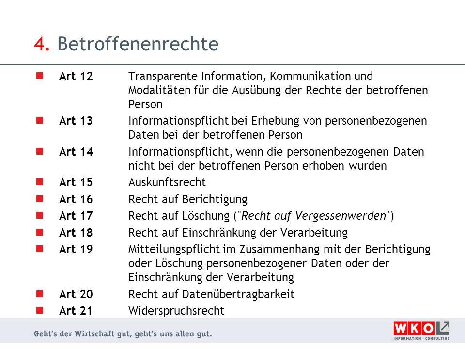 4. Betroffenenrechte Art 12 Transparente Information, Kommunikation und Modalitäten für die Ausübung der Rechte der betroffenen Person Art 13 Informat