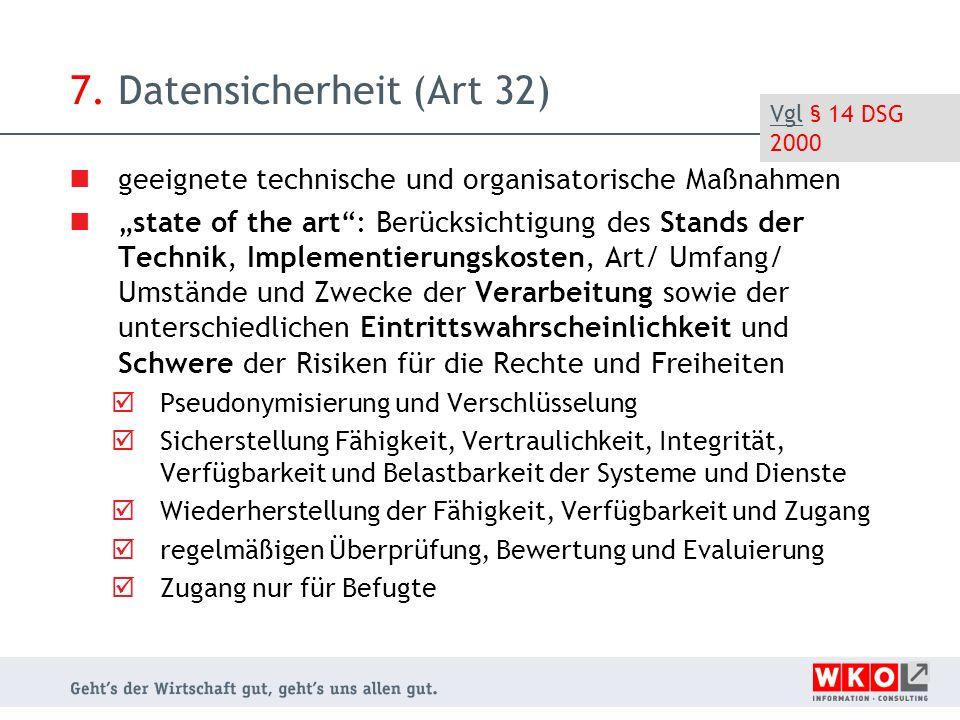 """7. Datensicherheit (Art 32) geeignete technische und organisatorische Maßnahmen """"state of the art"""": Berücksichtigung des Stands der Technik, Implement"""