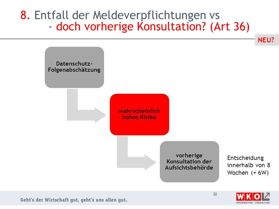8. Entfall der Meldeverpflichtungen vs - doch vorherige Konsultation? (Art 36) Datenschutz- Folgenabschätzung wahrscheinlich hohes Risiko vorherige Ko