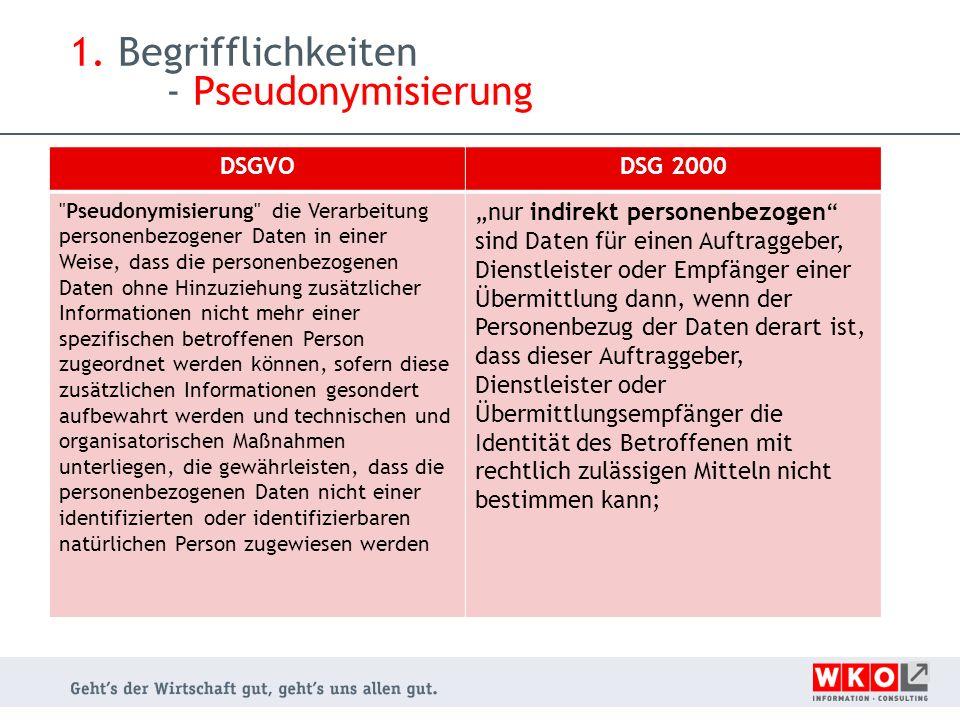 1. Begrifflichkeiten - Pseudonymisierung DSGVODSG 2000