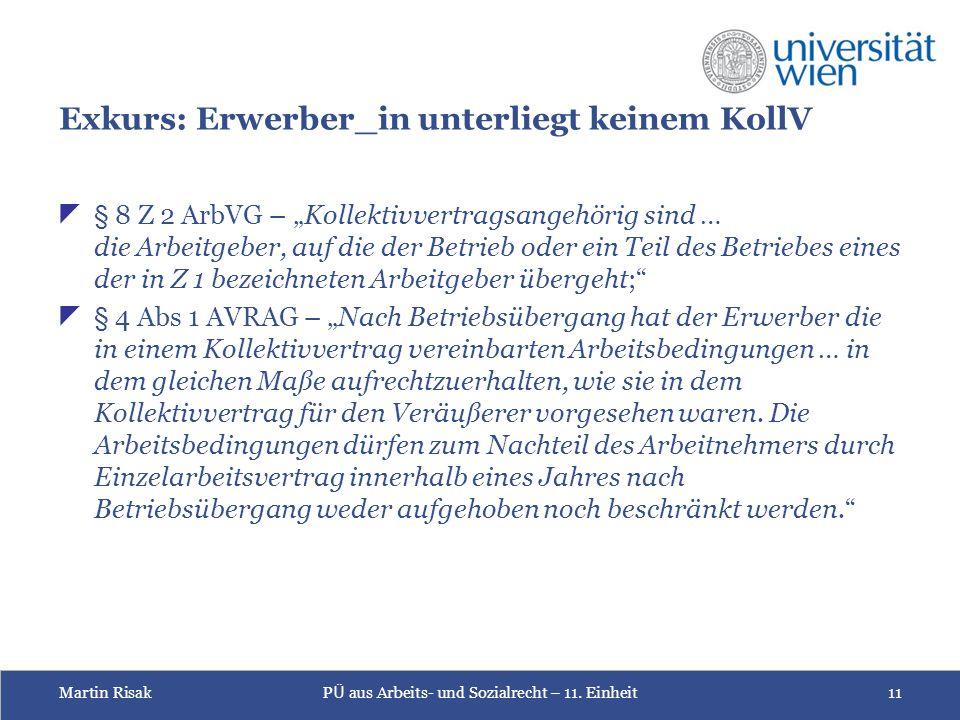 Martin RisakP Ü aus Arbeits- und Sozialrecht – 11.