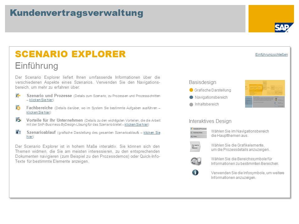 SCENARIO EXPLORER Einführung Basisdesign Grafische Darstellung Navigationsbereich Inhaltsbereich Der Scenario Explorer liefert Ihnen umfassende Informationen über die verschiedenen Aspekte eines Szenarios.