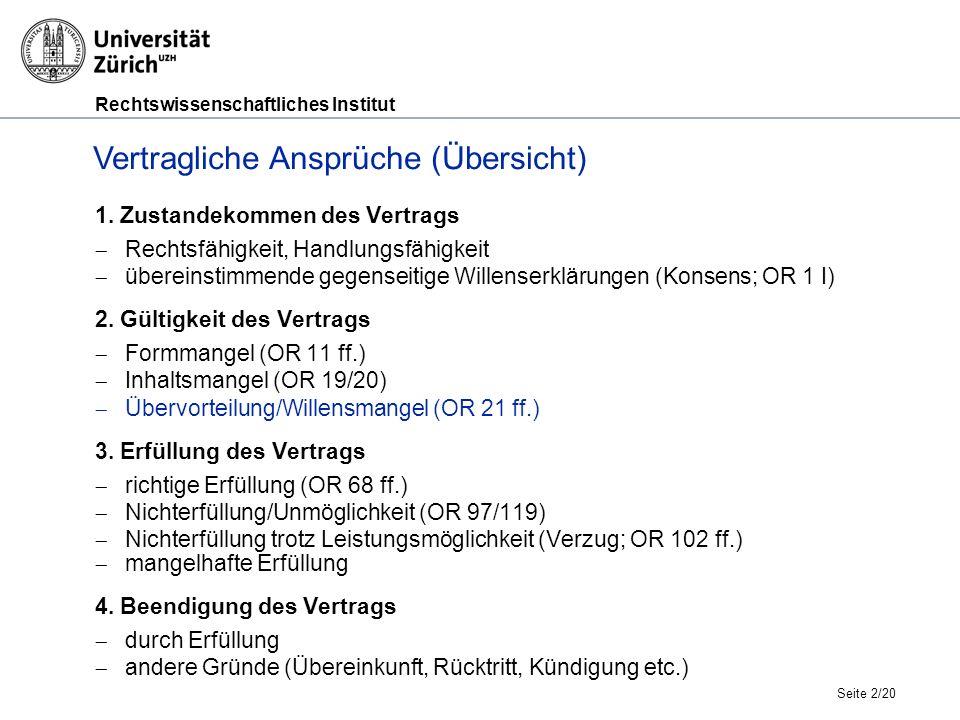 Rechtswissenschaftliches Institut Übervorteilung und Willensmängel (1), Prof.