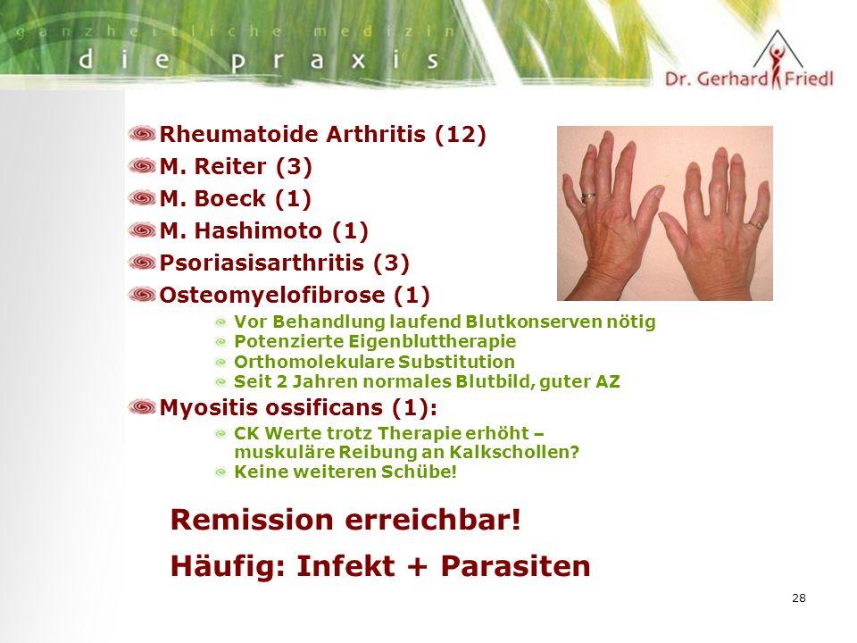 28 Rheumatoide Arthritis (12) M. Reiter (3) M. Boeck (1) M.