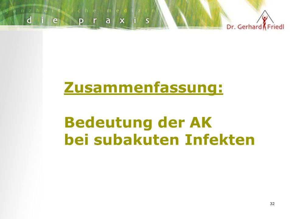 32 Zusammenfassung: Bedeutung der AK bei subakuten Infekten
