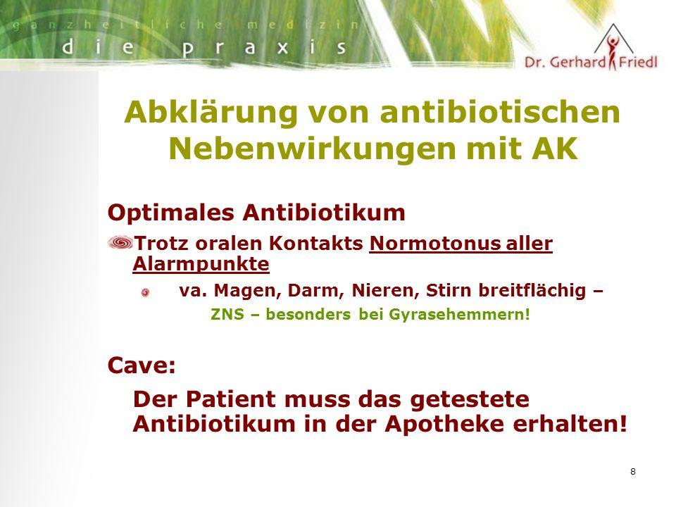 8 Abklärung von antibiotischen Nebenwirkungen mit AK Optimales Antibiotikum Trotz oralen Kontakts Normotonus aller Alarmpunkte va.
