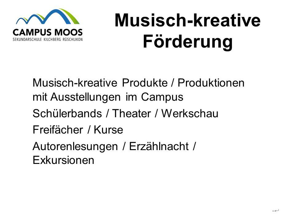 Musisch-kreative Förderung  Musisch-kreative Produkte / Produktionen mit Ausstellungen im Campus Schülerbands / Theater / Werkschau Freifächer / Kurse Autorenlesungen / Erzählnacht / Exkursionen