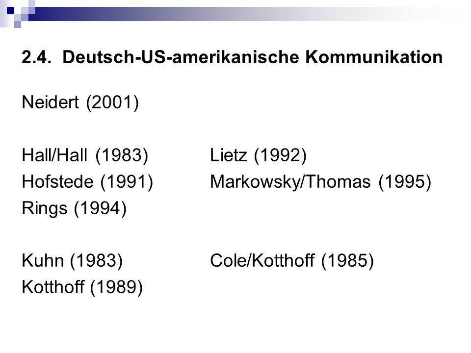 2.4. Deutsch-US-amerikanische Kommunikation Neidert (2001) Hall/Hall (1983)Lietz (1992) Hofstede (1991)Markowsky/Thomas (1995) Rings (1994) Kuhn (1983