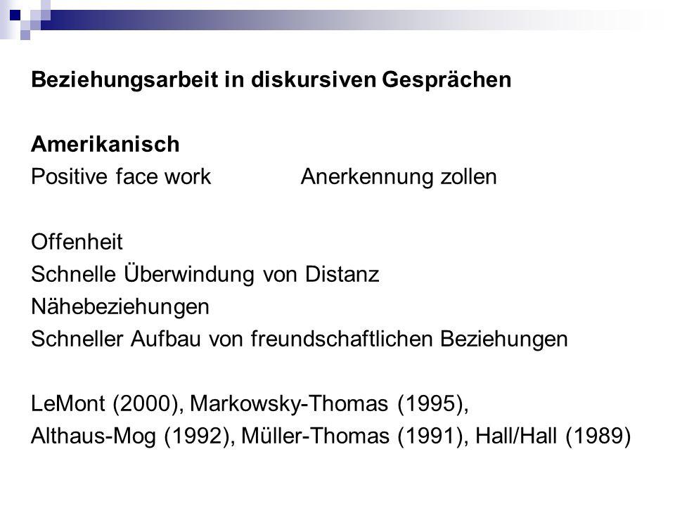 Beziehungsarbeit in diskursiven Gesprächen Amerikanisch Positive face workAnerkennung zollen Offenheit Schnelle Überwindung von Distanz Nähebeziehungen Schneller Aufbau von freundschaftlichen Beziehungen LeMont (2000), Markowsky-Thomas (1995), Althaus-Mog (1992), Müller-Thomas (1991), Hall/Hall (1989)