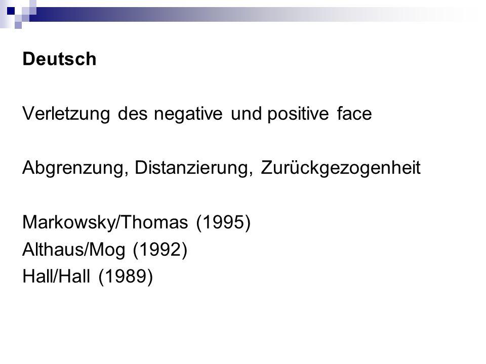 Deutsch Verletzung des negative und positive face Abgrenzung, Distanzierung, Zurückgezogenheit Markowsky/Thomas (1995) Althaus/Mog (1992) Hall/Hall (1989)