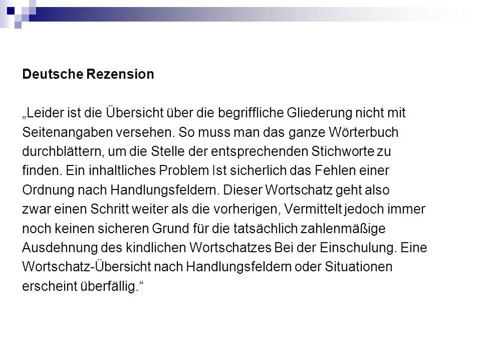 """Deutsche Rezension """"Leider ist die Übersicht über die begriffliche Gliederung nicht mit Seitenangaben versehen."""
