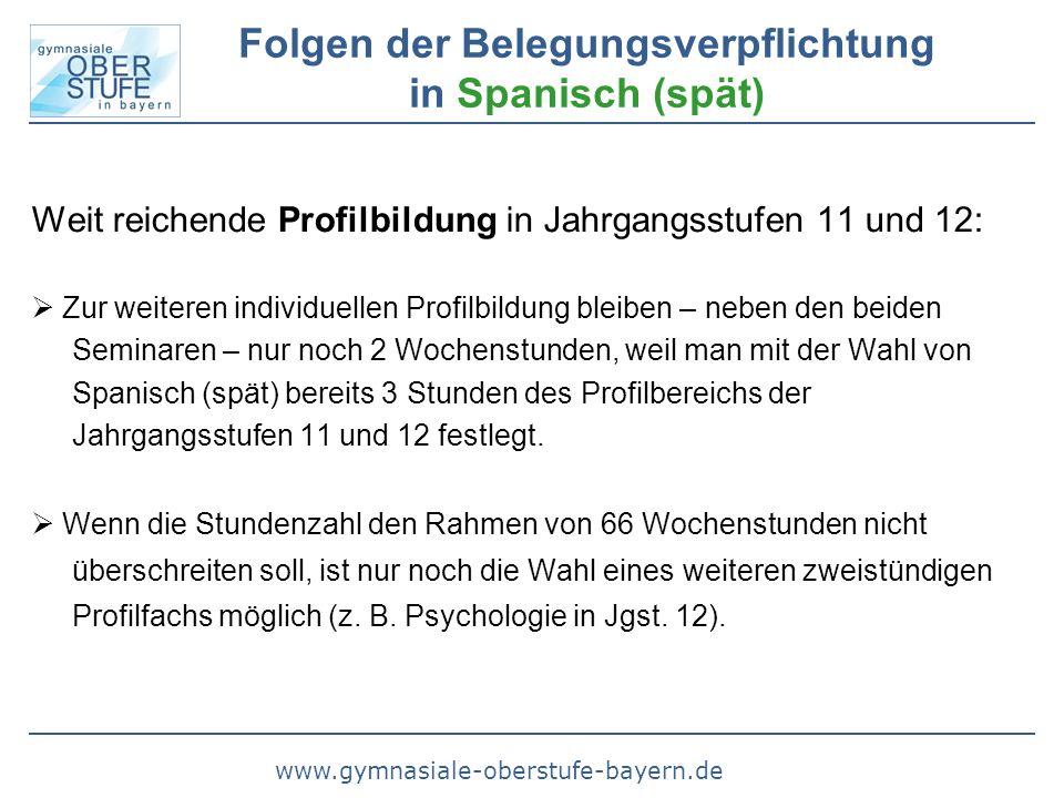 www.gymnasiale-oberstufe-bayern.de Folgen der Belegungsverpflichtung in Spanisch (spät) Weit reichende Profilbildung in Jahrgangsstufen 11 und 12:  Z