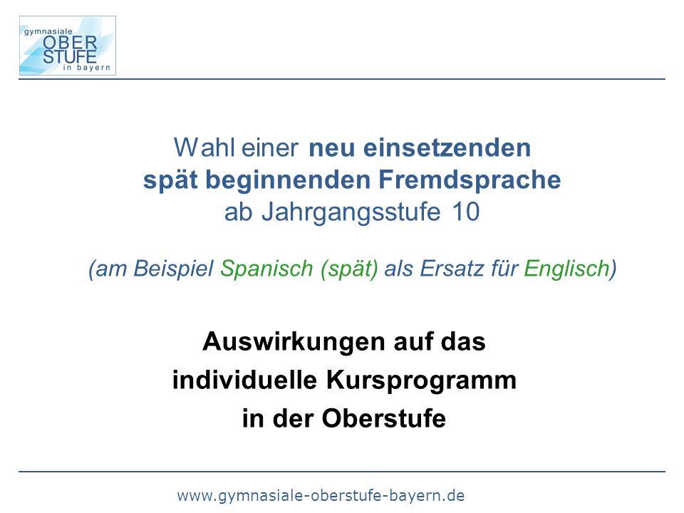 Wahl einer neu einsetzenden spät beginnenden Fremdsprache ab Jahrgangsstufe 10 (am Beispiel Spanisch (spät) als Ersatz für Englisch) Auswirkungen auf das individuelle Kursprogramm in der Oberstufe
