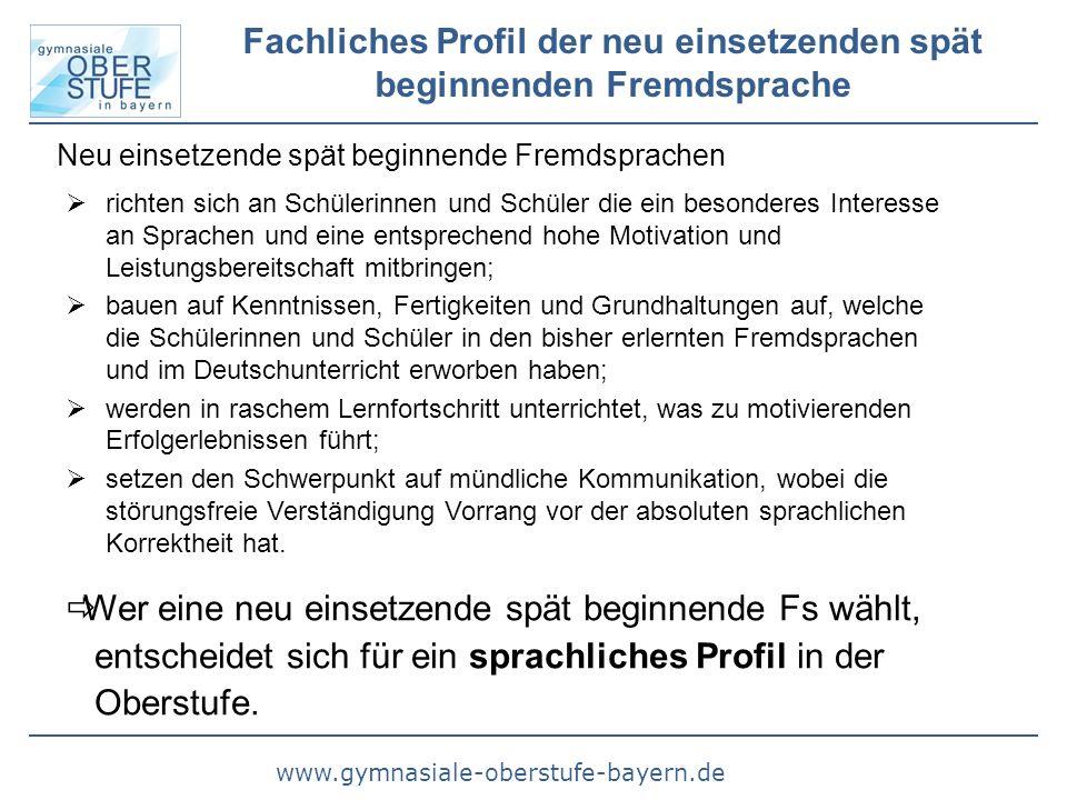 www.gymnasiale-oberstufe-bayern.de Fachliches Profil der neu einsetzenden spät beginnenden Fremdsprache  Wer eine neu einsetzende spät beginnende Fs wählt, entscheidet sich für ein sprachliches Profil in der Oberstufe.