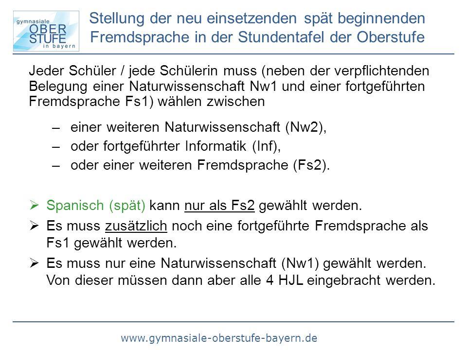 www.gymnasiale-oberstufe-bayern.de Belegungsverpflichtung für die neu einsetzende spät beginnende Fremdsprache Wer in Jgst.
