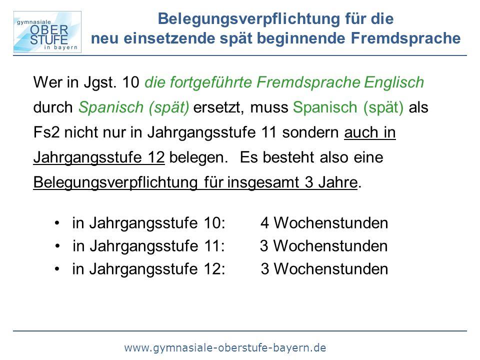 www.gymnasiale-oberstufe-bayern.de Belegungsverpflichtung für die neu einsetzende spät beginnende Fremdsprache Wer in Jgst. 10 die fortgeführte Fremds