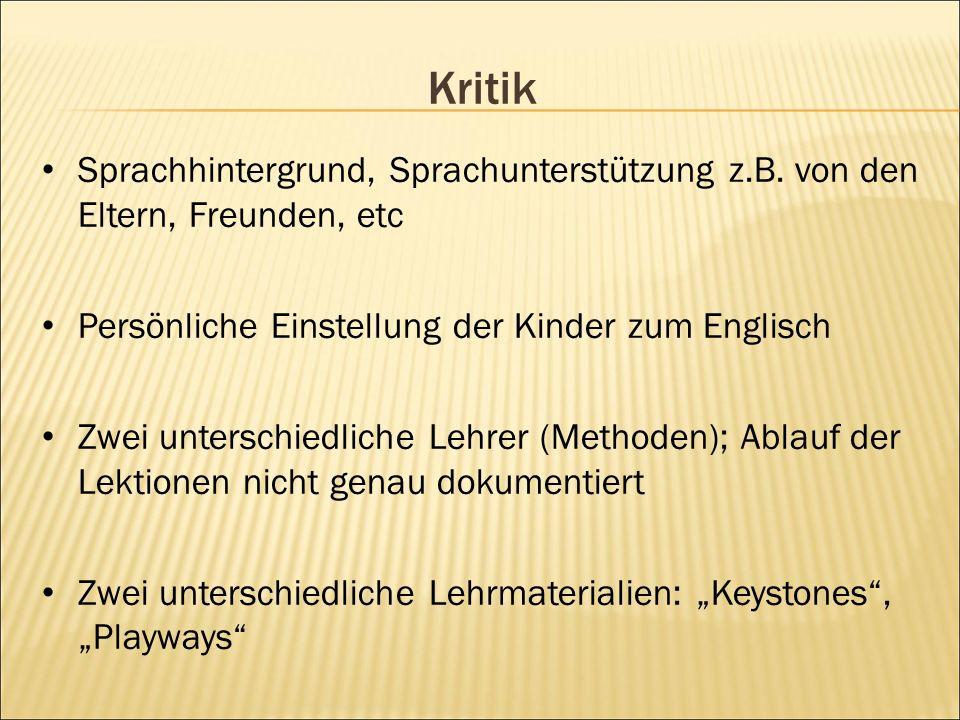 Kritik Sprachhintergrund, Sprachunterstützung z.B.