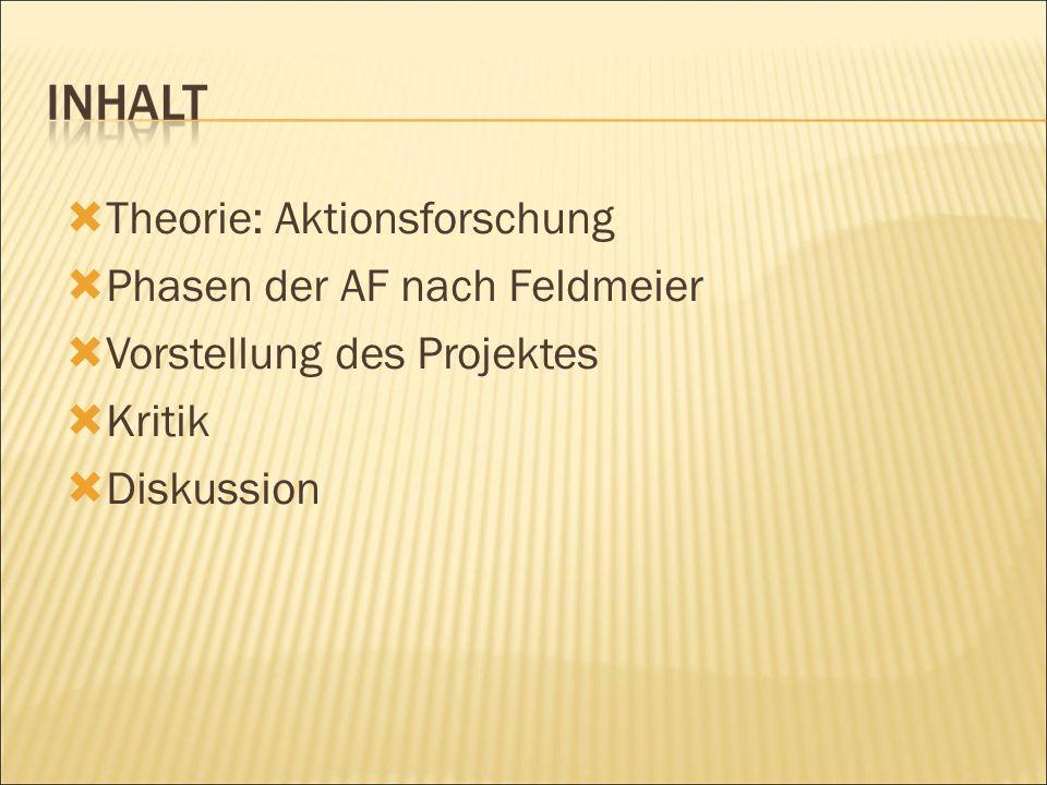  Theorie: Aktionsforschung  Phasen der AF nach Feldmeier  Vorstellung des Projektes  Kritik  Diskussion