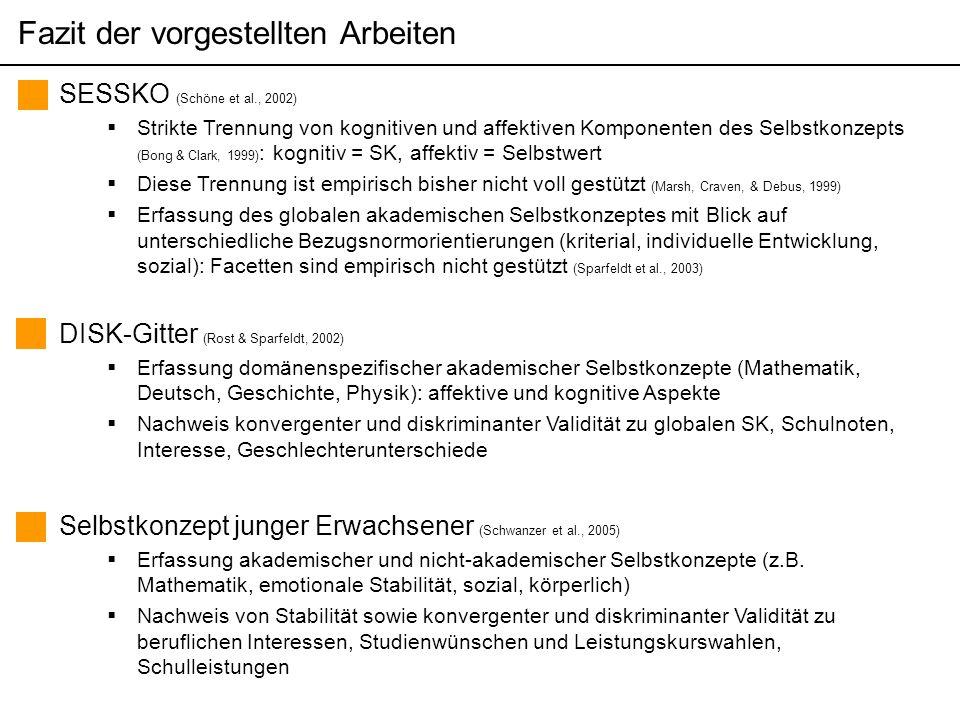 Themen der pädagogisch psychologischen Diagnostik (Sommersemester 2006) Martin Brunner SESSKO (Schöne et al., 2002)  Strikte Trennung von kognitiven und affektiven Komponenten des Selbstkonzepts (Bong & Clark, 1999) : kognitiv = SK, affektiv = Selbstwert  Diese Trennung ist empirisch bisher nicht voll gestützt (Marsh, Craven, & Debus, 1999)  Erfassung des globalen akademischen Selbstkonzeptes mit Blick auf unterschiedliche Bezugsnormorientierungen (kriterial, individuelle Entwicklung, sozial): Facetten sind empirisch nicht gestützt (Sparfeldt et al., 2003) Fazit der vorgestellten Arbeiten DISK-Gitter (Rost & Sparfeldt, 2002)  Erfassung domänenspezifischer akademischer Selbstkonzepte (Mathematik, Deutsch, Geschichte, Physik): affektive und kognitive Aspekte  Nachweis konvergenter und diskriminanter Validität zu globalen SK, Schulnoten, Interesse, Geschlechterunterschiede Selbstkonzept junger Erwachsener (Schwanzer et al., 2005)  Erfassung akademischer und nicht-akademischer Selbstkonzepte (z.B.