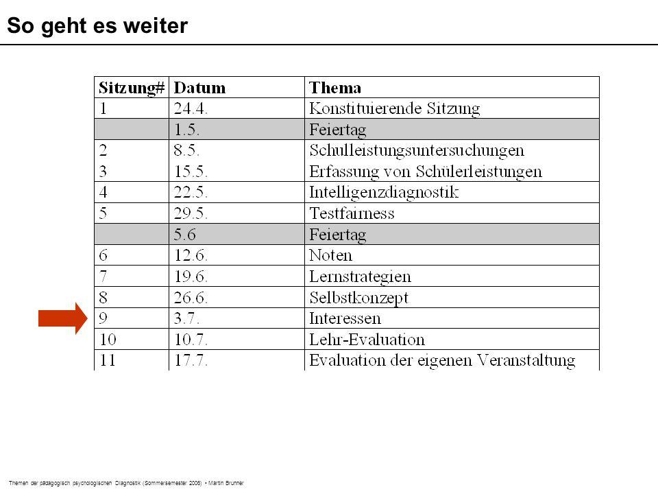 Themen der pädagogisch psychologischen Diagnostik (Sommersemester 2006) Martin Brunner SESSKO (Schöne et al., 2002) DISK-Gitter (Rost & Sparfeldt, 2002) Selbstkonzept junger Erwachsener (Schwanzer et al., 2005) Itembeispiele  Ich habe einen attraktiven Körper (Aussehen)  Ich bin meistens glücklich (emotionale Stabilität)  Ich wollte, ich wäre so intelligent wie die anderen (Intellektuelle Fähigkeiten)  Der herzliche Umgang mit Personen des anderen Geschlechts fällt mir leicht (Beziehungen zu Personen des anderen Geschlechts)  Ich bin ein/e gute/r Sportler/in (Körperliche Fähigkeiten)  Ich bin gut in Mathematik (mathematische Fähigkeiten)  Ich weiß in Mathematik die Antwort auf eine Frage schneller als die Anderen  Ich kann in Mathematik Sachen selbst ´rauskriegen  In Mathematik fallen mir gute Noten zu  Ich habe ein gutes Gefühl, was meine Arbeit in Mathematik angeht  Kriterial: Wenn ich mir angucke, was wir in der Schule können müssen, halte ich mich für: nicht begabt...