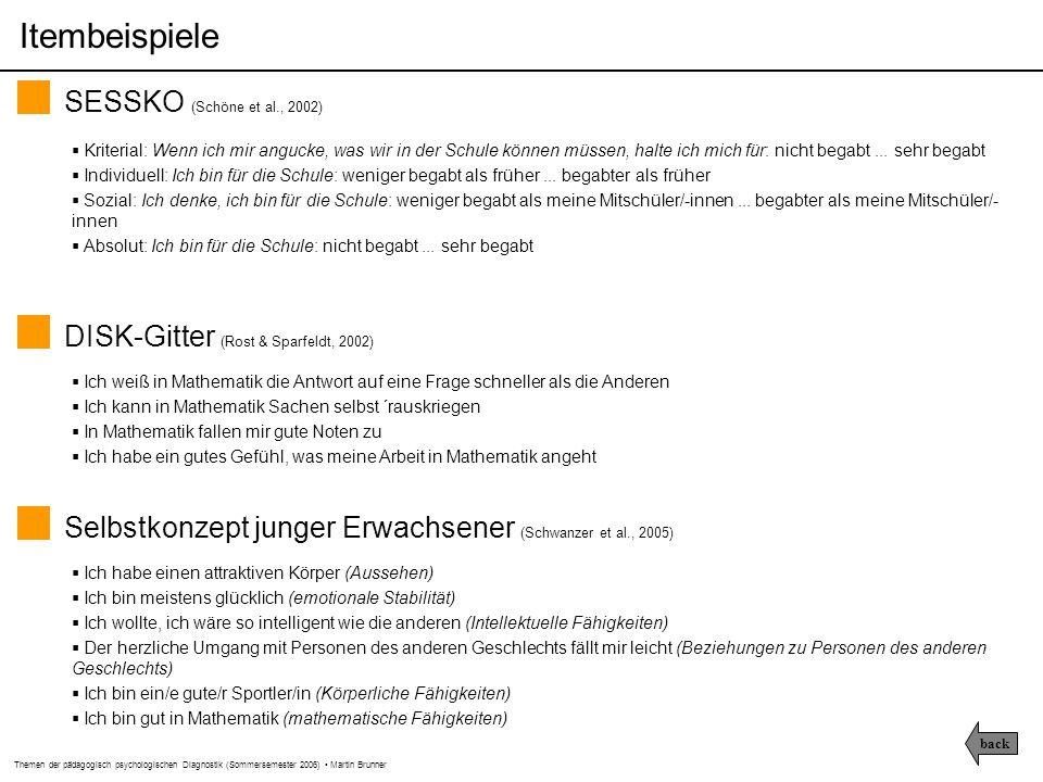 Themen der pädagogisch psychologischen Diagnostik (Sommersemester 2006) Martin Brunner Prädiktoren Kognitive Fähigkeiten Kriterien Akademische Selbstkonzepte Messmodelle N = 25301 (alle Schüler haben bei allen Variablen gültige Werte)