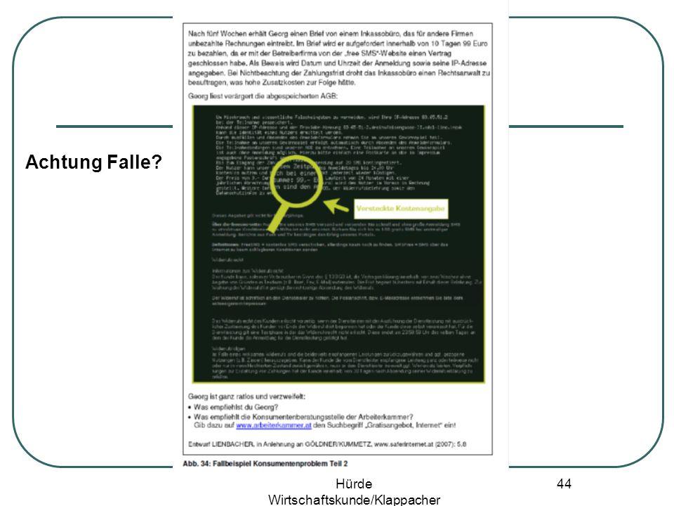 Hürde Wirtschaftskunde/Klappacher 43 Achtung Falle?