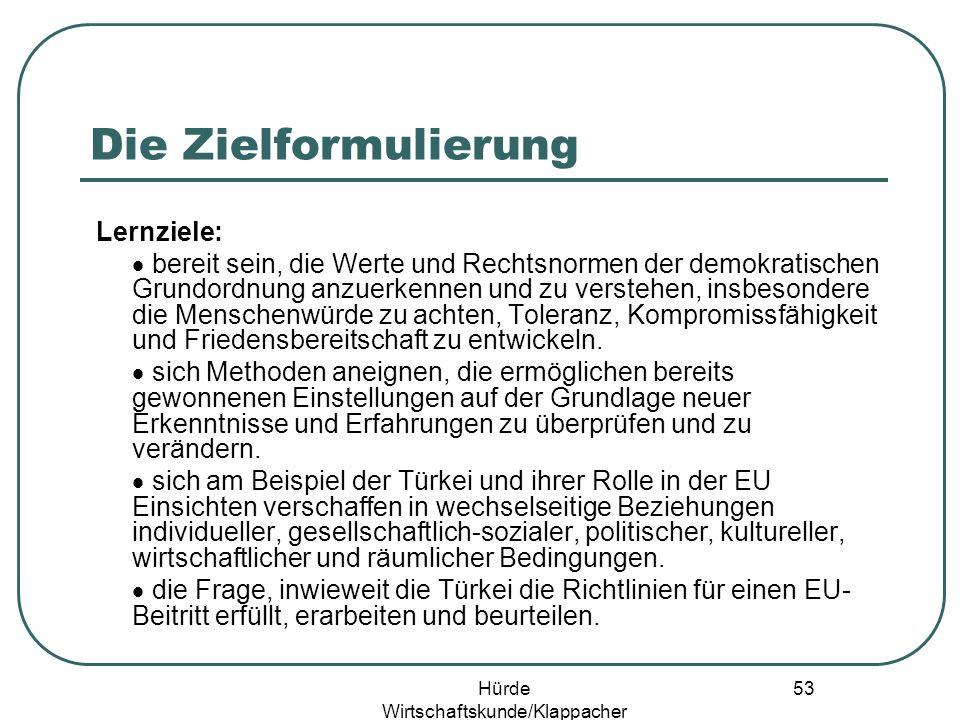 Hürde Wirtschaftskunde/Klappacher 52 Türkei & EU – Beitritt Ja/Nein.