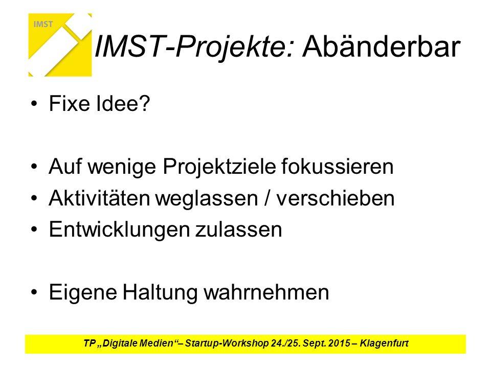 IMST-Projekte: Abänderbar Fixe Idee.