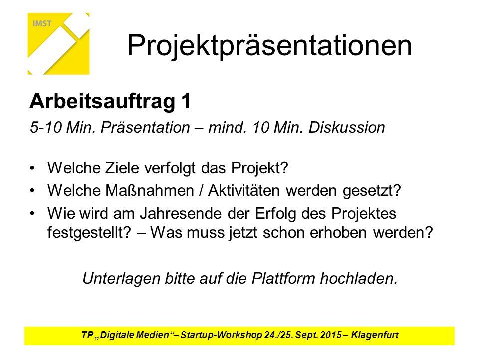 Projektpräsentationen Arbeitsauftrag 1 5-10 Min.Präsentation – mind.