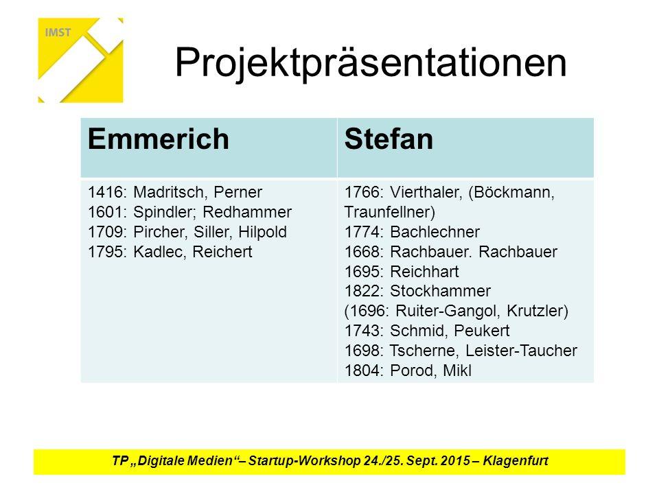 "Projektpräsentationen TP ""Digitale Medien – Startup-Workshop 24./25."