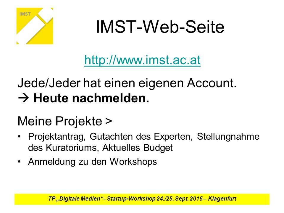 IMST-Web-Seite http://www.imst.ac.at Jede/Jeder hat einen eigenen Account.
