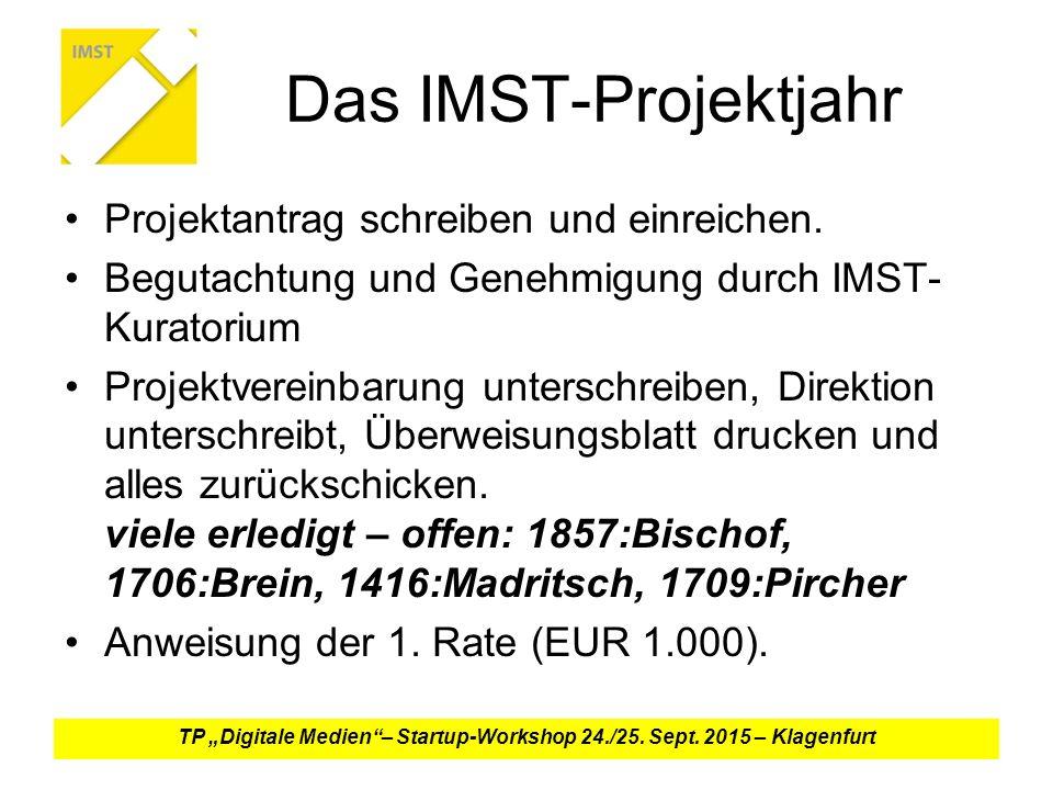 Das IMST-Projektjahr Projektantrag schreiben und einreichen.