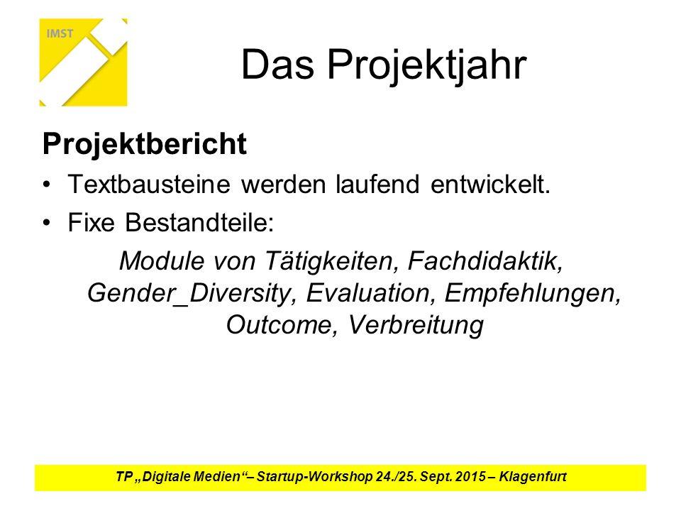 Das Projektjahr Projektbericht Textbausteine werden laufend entwickelt.