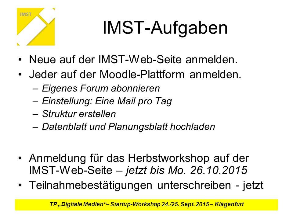 IMST-Aufgaben Neue auf der IMST-Web-Seite anmelden.