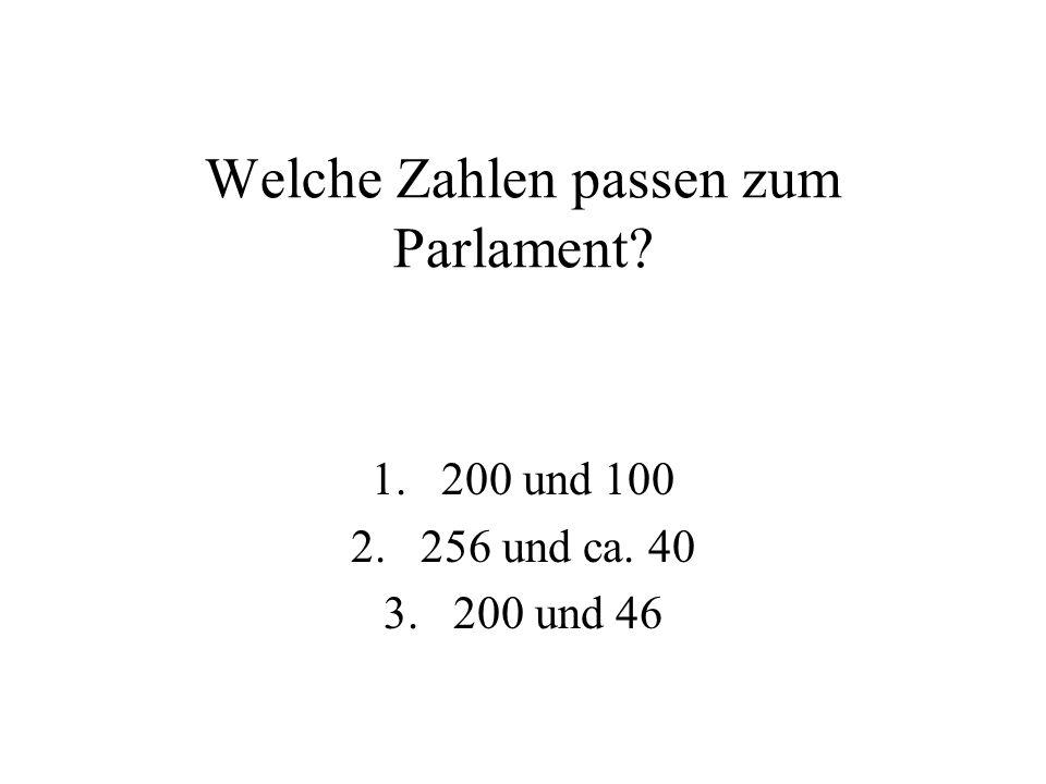 Welche Zahlen passen zum Parlament? 1.200 und 100 2.256 und ca. 40 3.200 und 46