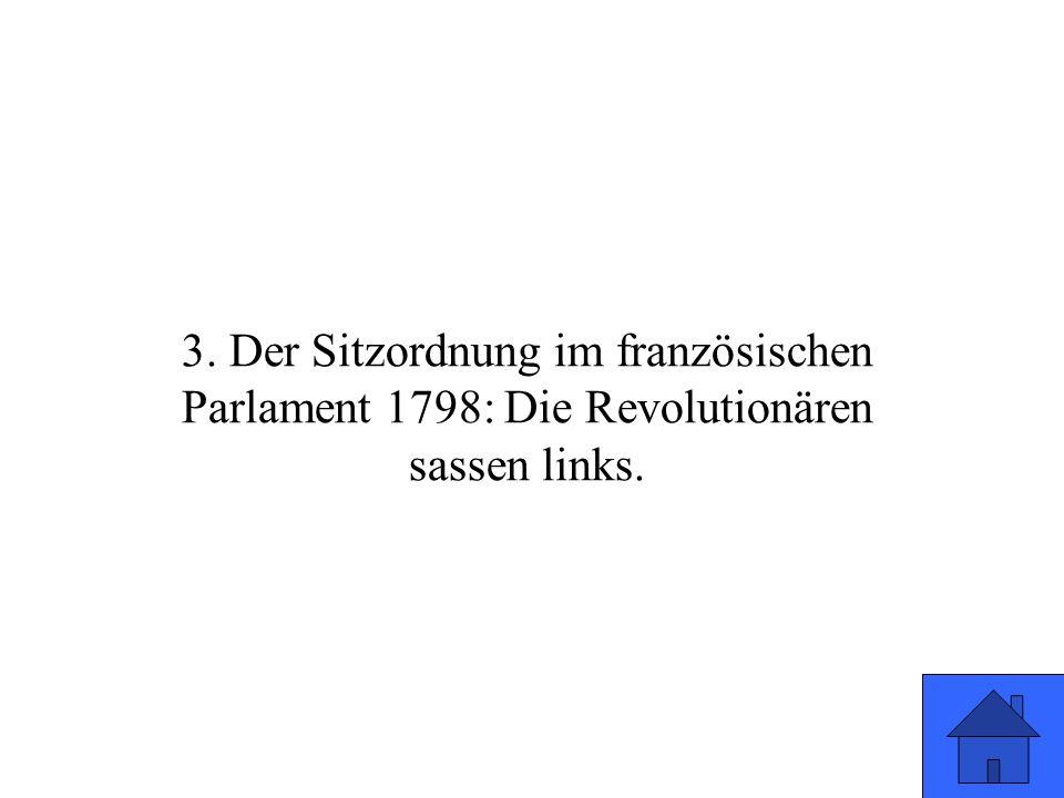 3. Der Sitzordnung im französischen Parlament 1798: Die Revolutionären sassen links.