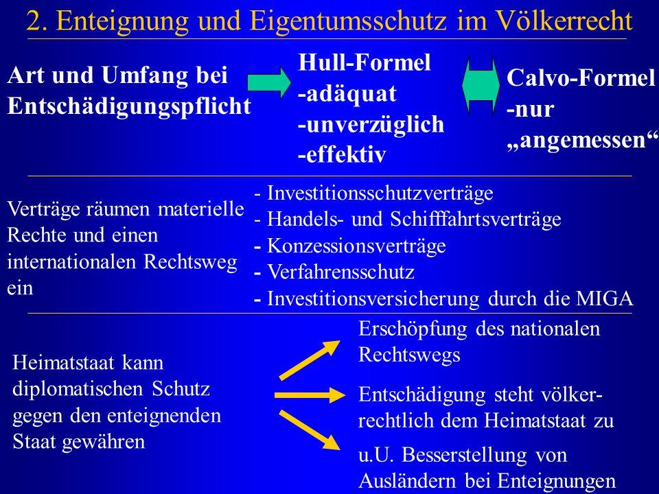 """2. Enteignung und Eigentumsschutz im Völkerrecht Art und Umfang bei Entschädigungspflicht Calvo-Formel -nur """"angemessen"""" Verträge räumen materielle Re"""