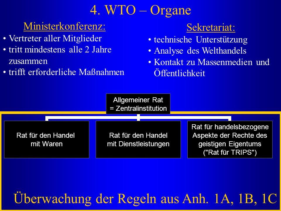 4. WTO – Organe Ministerkonferenz: Vertreter aller Mitglieder tritt mindestens alle 2 Jahre zusammen trifft erforderliche Maßnahmen Sekretariat: techn