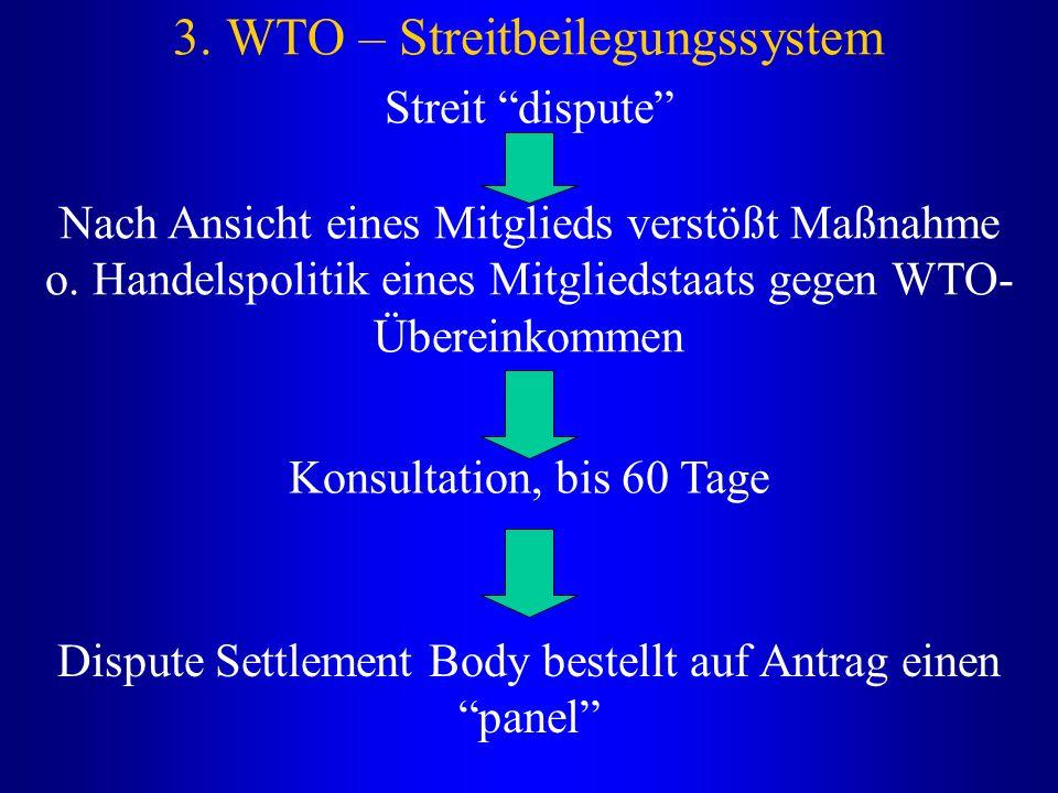 """3. WTO – Streitbeilegungssystem Streit """"dispute"""" Nach Ansicht eines Mitglieds verstößt Maßnahme o. Handelspolitik eines Mitgliedstaats gegen WTO- Über"""