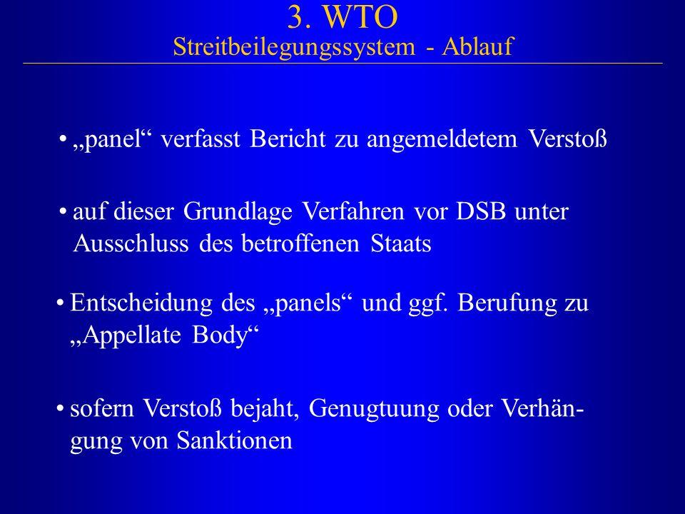 """3. WTO Streitbeilegungssystem - Ablauf """"panel"""" verfasst Bericht zu angemeldetem Verstoß auf dieser Grundlage Verfahren vor DSB unter Ausschluss des be"""