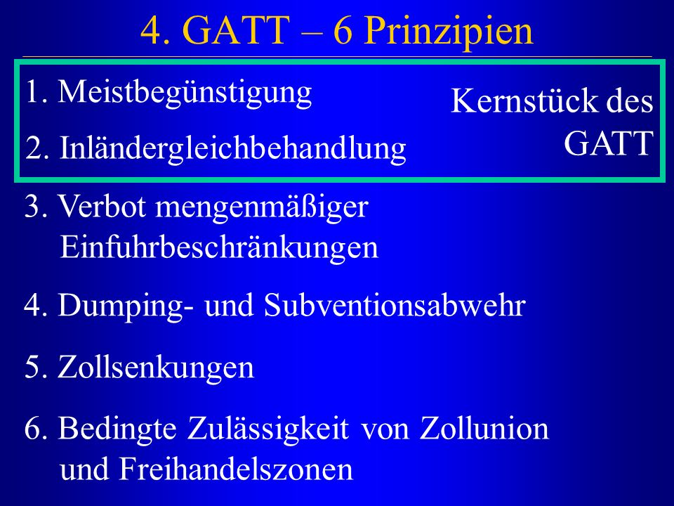 4. GATT – 6 Prinzipien 1. Meistbegünstigung 2. Inländergleichbehandlung 3. Verbot mengenmäßiger Einfuhrbeschränkungen 4. Dumping- und Subventionsabweh